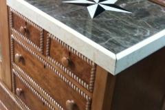 Closeup of marble top